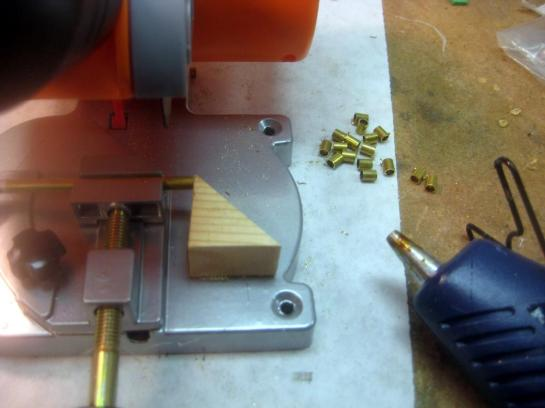 Hot Glued Saw Stop For Cutting Bushings
